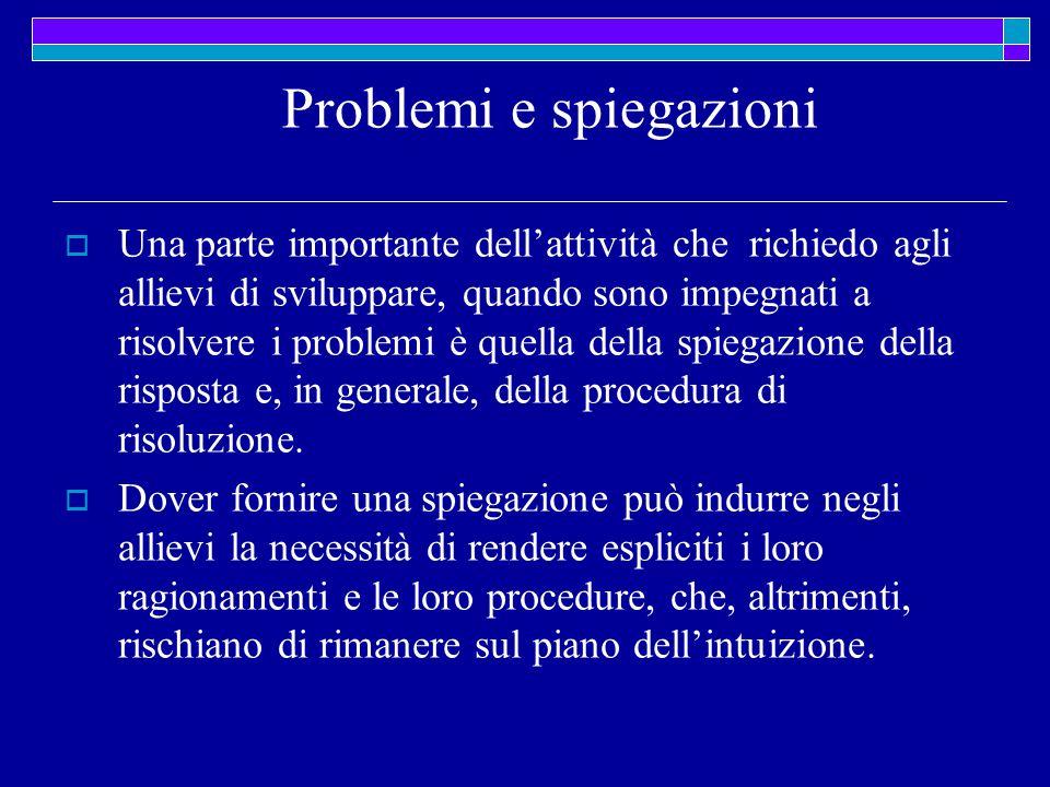 Problemi e spiegazioni  Una parte importante dell'attività che richiedo agli allievi di sviluppare, quando sono impegnati a risolvere i problemi è quella della spiegazione della risposta e, in generale, della procedura di risoluzione.
