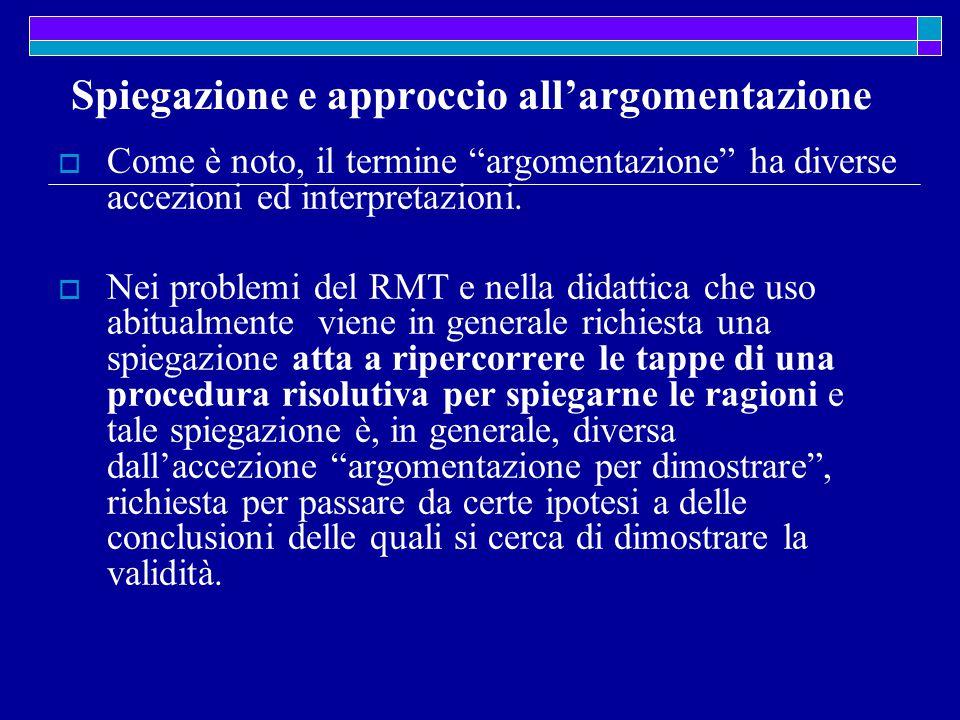 Spiegazione e approccio all'argomentazione  Come è noto, il termine argomentazione ha diverse accezioni ed interpretazioni.