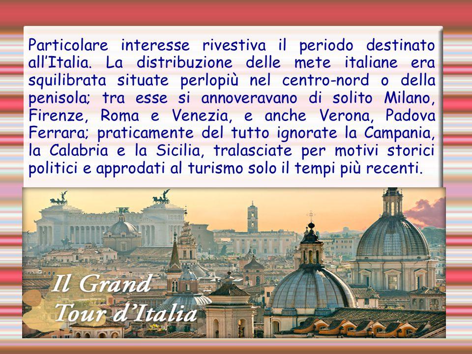 Particolare interesse rivestiva il periodo destinato all'Italia. La distribuzione delle mete italiane era squilibrata situate perlopiù nel centro-nord