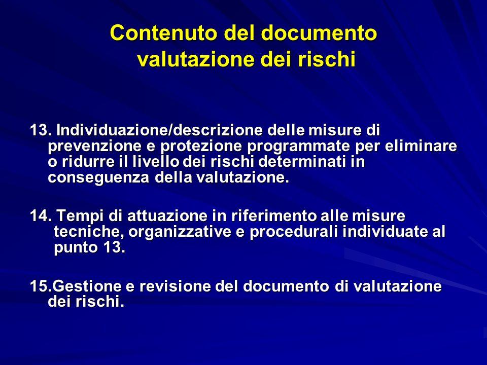Contenuto del documento valutazione dei rischi 13.