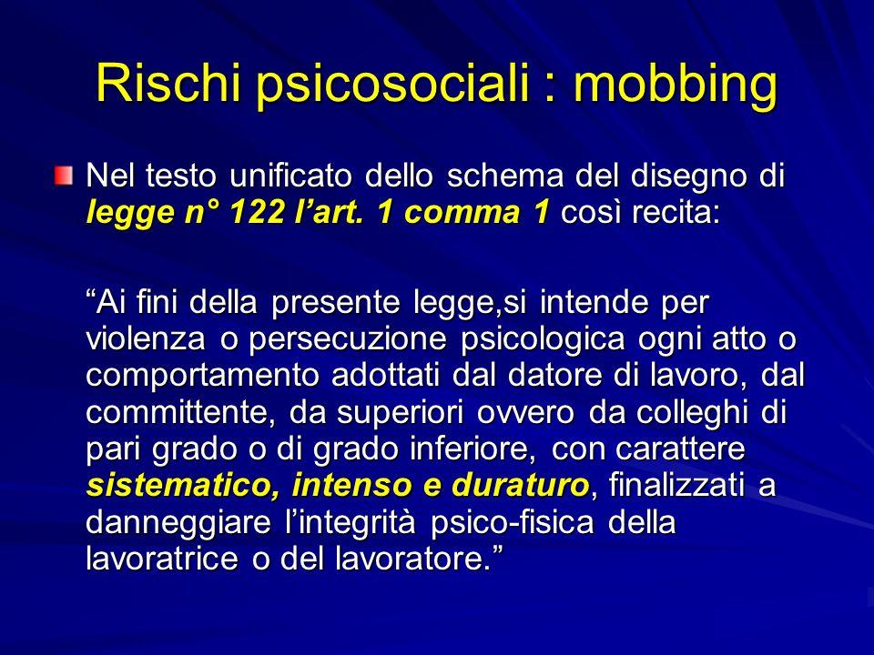 Rischi psicosociali : mobbing Nel testo unificato dello schema del disegno di legge n° 122 l'art.