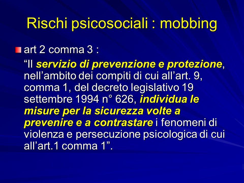 Rischi psicosociali : mobbing art 2 comma 3 : Il servizio di prevenzione e protezione, nell'ambito dei compiti di cui all'art.
