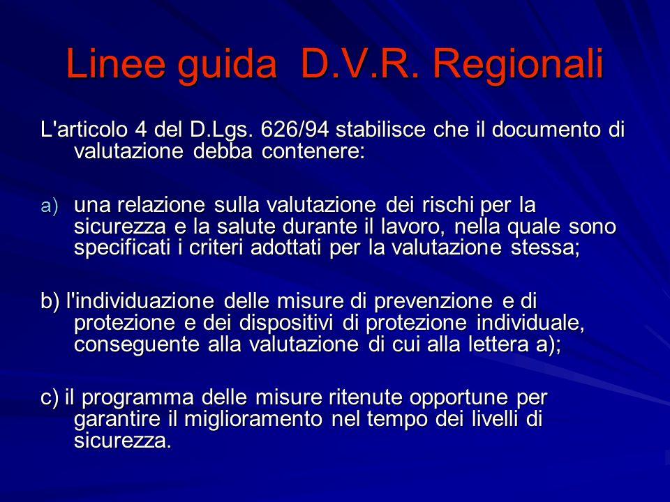ORIENTAMENTI GENERALI La valutazione del rischio (D.