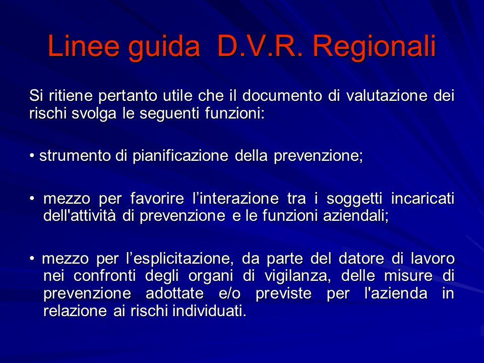 Linee guida D.V.R.Regionali I.