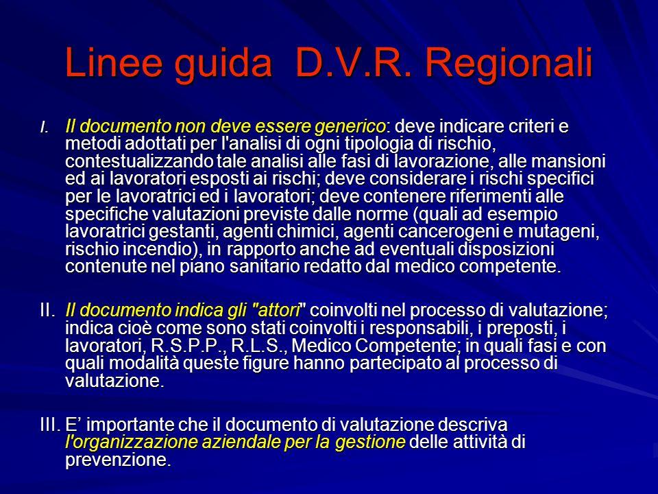 Linee guida D.V.R.Regionali IV.
