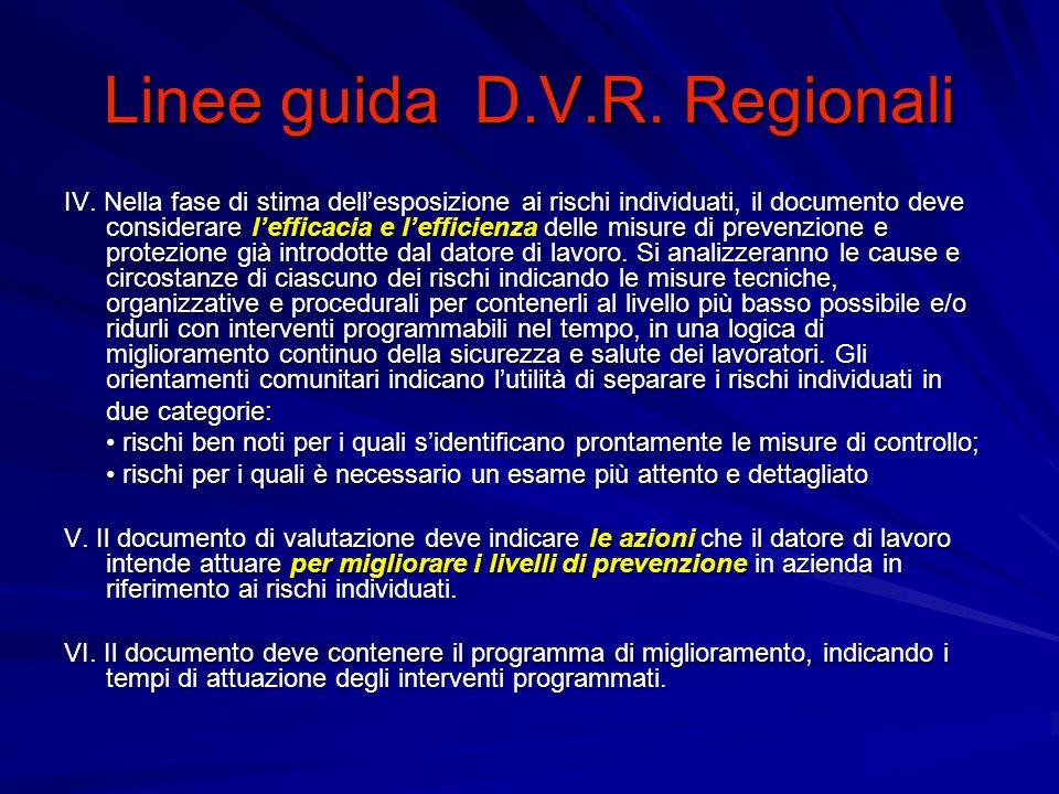 Linee guida D.V.R. Regionali IV.
