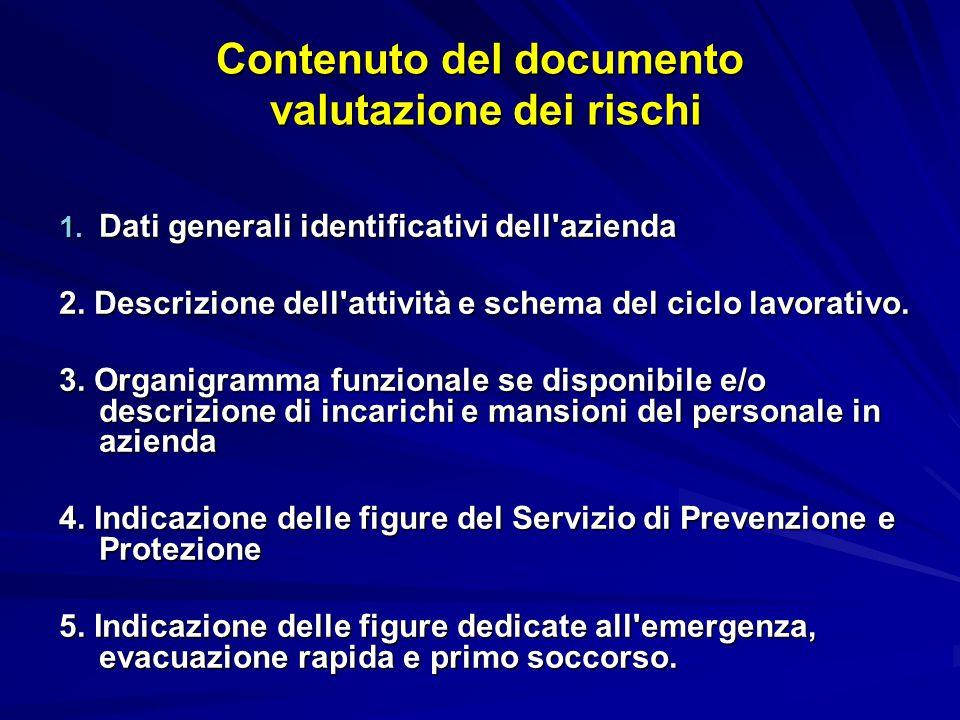 Contenuto del documento valutazione dei rischi 1. Dati generali identificativi dell azienda 2.