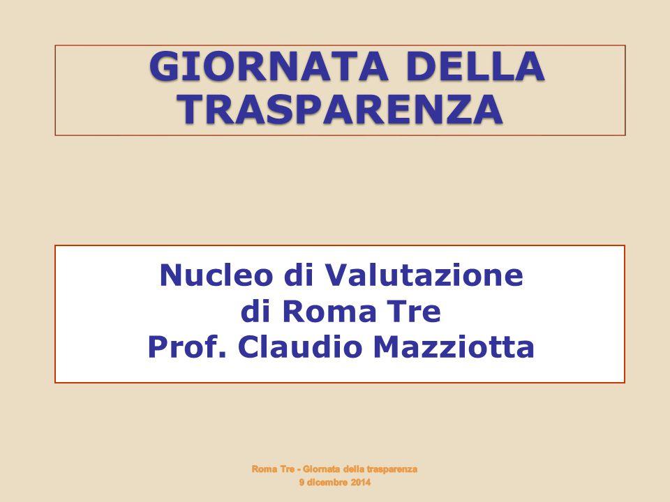 GIORNATA DELLA TRASPARENZA GIORNATA DELLA TRASPARENZA Nucleo di Valutazione di Roma Tre Prof. Claudio Mazziotta