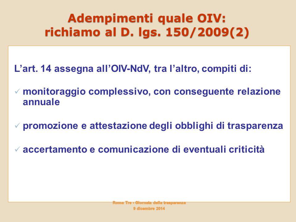 Adempimenti quale OIV: richiamo al D. lgs. 150/2009(2) L'art. 14 assegna all'OIV-NdV, tra l'altro, compiti di: monitoraggio complessivo, con conseguen