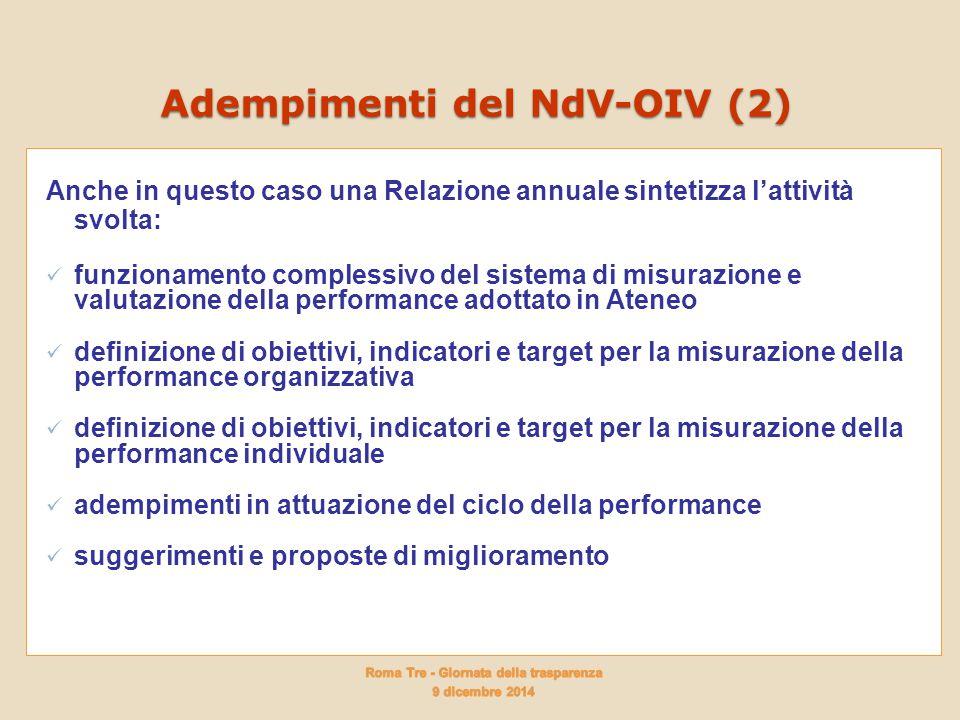 Adempimenti del NdV-OIV (2) Anche in questo caso una Relazione annuale sintetizza l'attività svolta: funzionamento complessivo del sistema di misurazi
