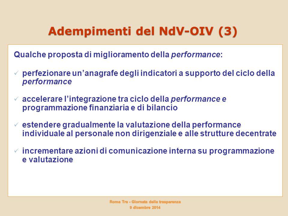 Adempimenti del NdV-OIV (3) Qualche proposta di miglioramento della performance: perfezionare un'anagrafe degli indicatori a supporto del ciclo della