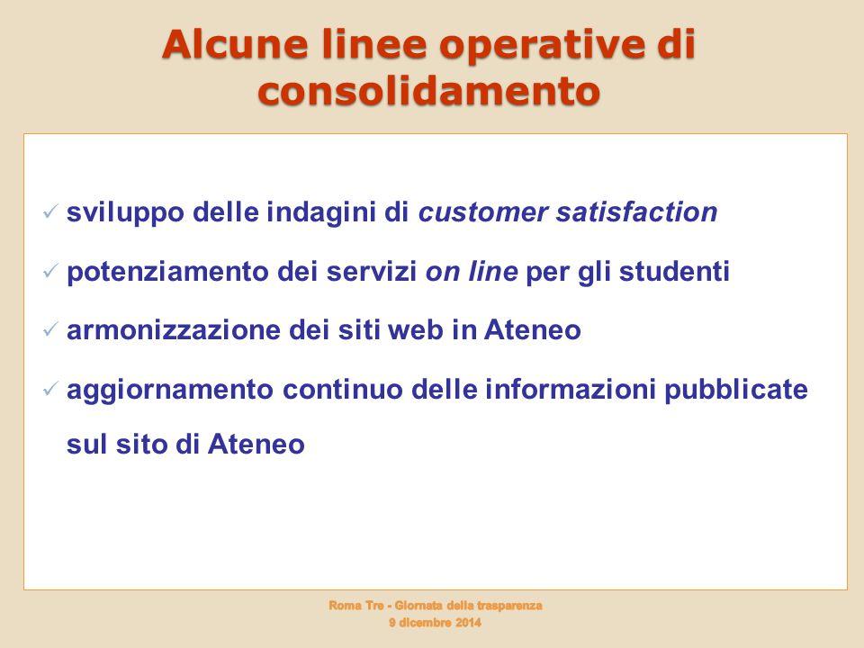 Alcune linee operative di consolidamento sviluppo delle indagini di customer satisfaction potenziamento dei servizi on line per gli studenti armonizza