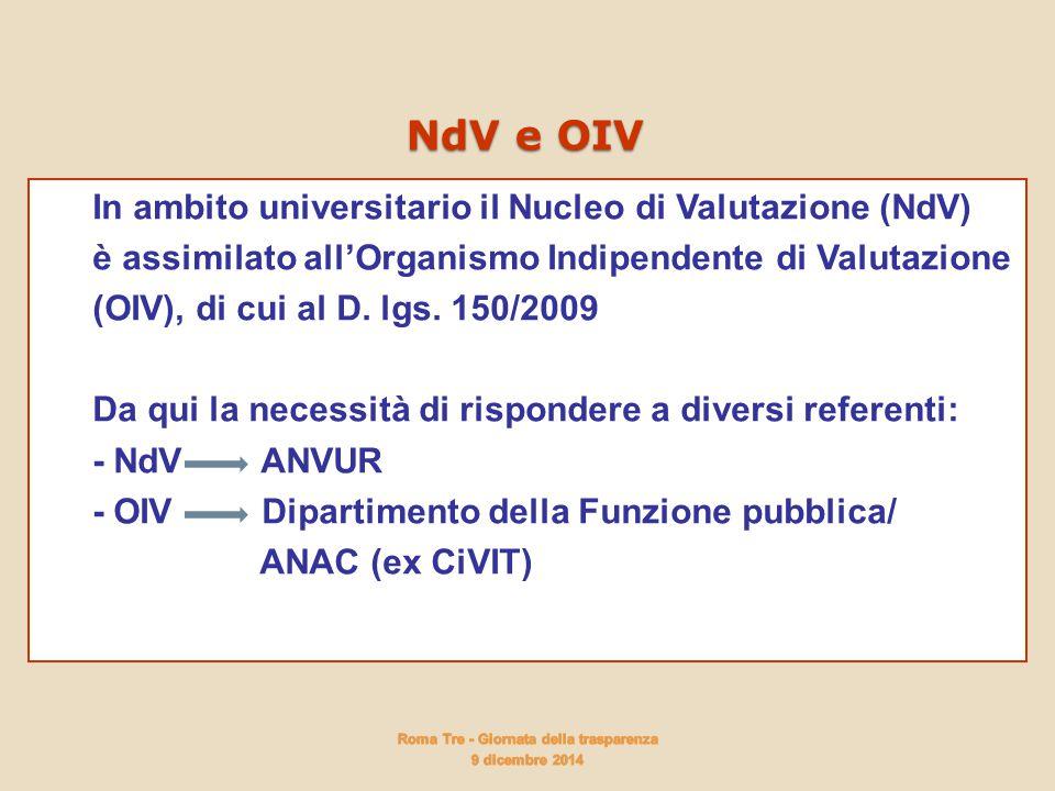 In ambito universitario il Nucleo di Valutazione (NdV) è assimilato all'Organismo Indipendente di Valutazione (OIV), di cui al D. lgs. 150/2009 Da qui