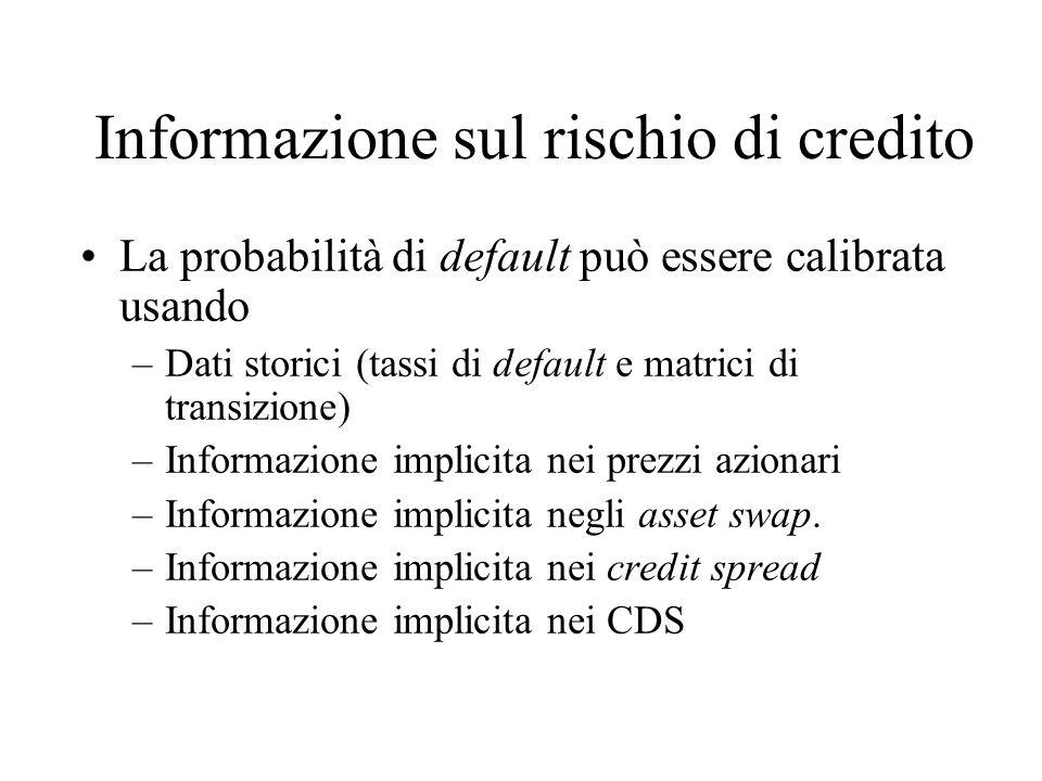 Informazione sul rischio di credito La probabilità di default può essere calibrata usando –Dati storici (tassi di default e matrici di transizione) –Informazione implicita nei prezzi azionari –Informazione implicita negli asset swap.