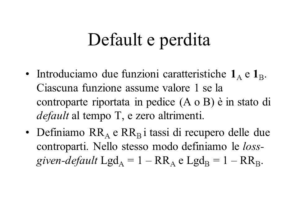 Default e perdita Introduciamo due funzioni caratteristiche 1 A e 1 B.