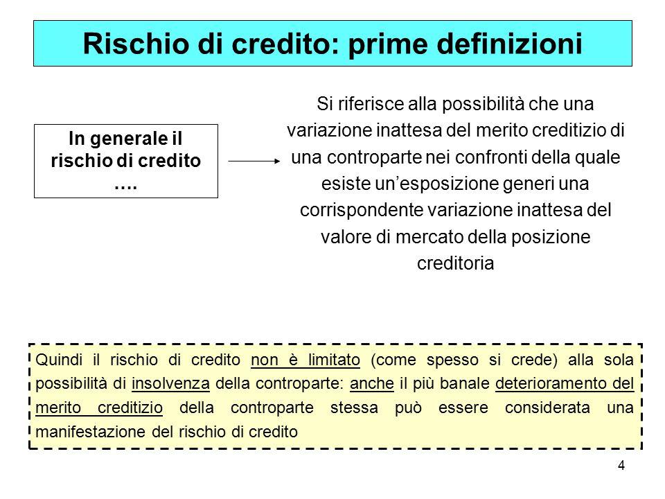 4 Rischio di credito: prime definizioni Si riferisce alla possibilità che una variazione inattesa del merito creditizio di una controparte nei confronti della quale esiste un'esposizione generi una corrispondente variazione inattesa del valore di mercato della posizione creditoria In generale il rischio di credito ….