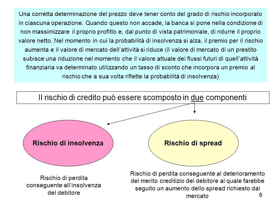 6 Una corretta determinazione del prezzo deve tener conto del grado di rischio incorporato in ciascuna operazione.