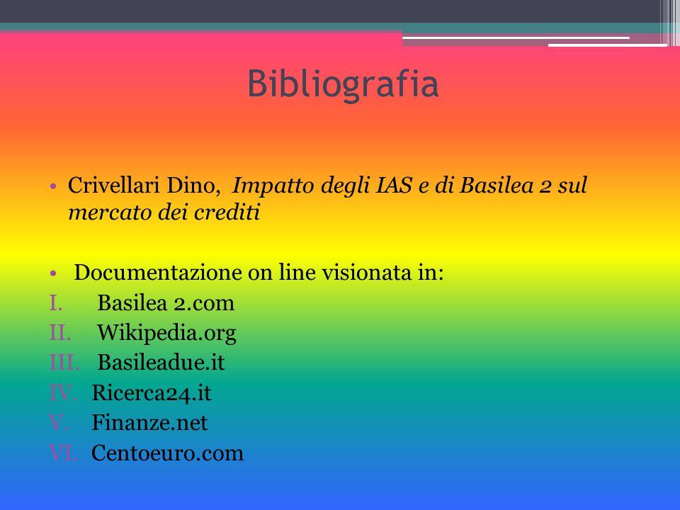 Bibliografia Crivellari Dino, Impatto degli IAS e di Basilea 2 sul mercato dei crediti Documentazione on line visionata in: I. Basilea 2.com II. Wikip