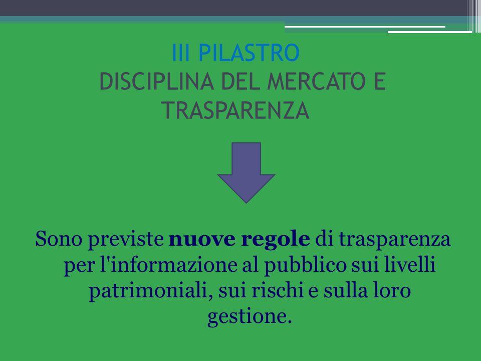 III PILASTRO DISCIPLINA DEL MERCATO E TRASPARENZA Sono previste nuove regole di trasparenza per l'informazione al pubblico sui livelli patrimoniali, s
