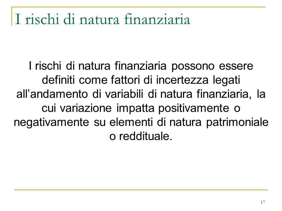 17 I rischi di natura finanziaria I rischi di natura finanziaria possono essere definiti come fattori di incertezza legati all'andamento di variabili