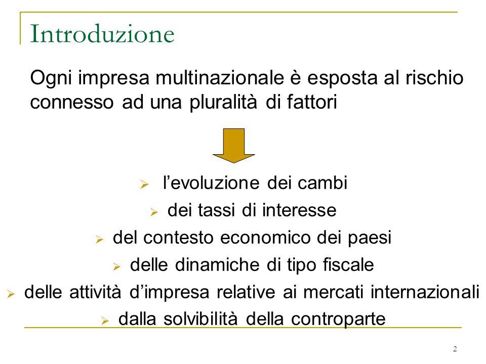2 Introduzione Ogni impresa multinazionale è esposta al rischio connesso ad una pluralità di fattori  l'evoluzione dei cambi  dei tassi di interesse