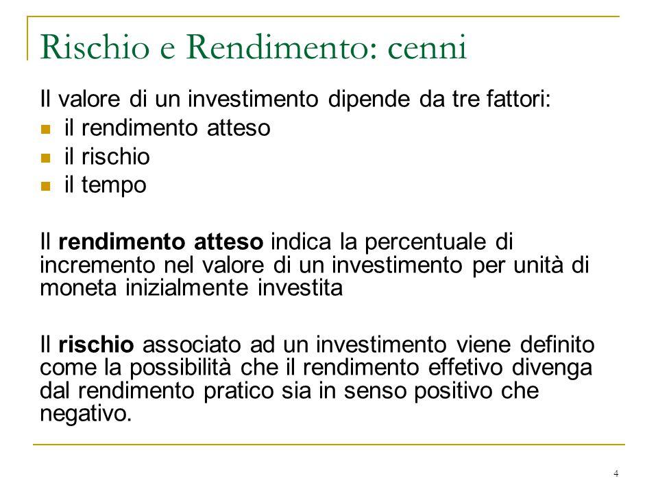 Il valore di un investimento dipende da tre fattori: il rendimento atteso il rischio il tempo Il rendimento atteso indica la percentuale di incremento