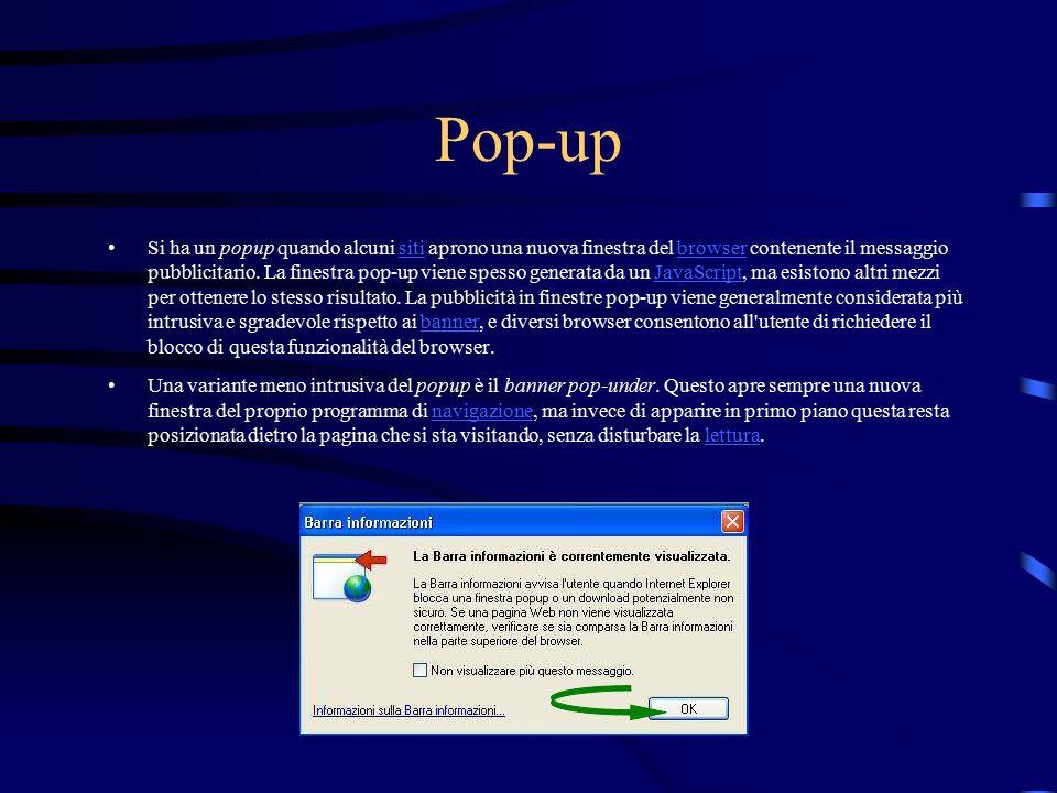 Pop-up Si ha un popup quando alcuni siti aprono una nuova finestra del browser contenente il messaggio pubblicitario. La finestra pop-up viene spesso