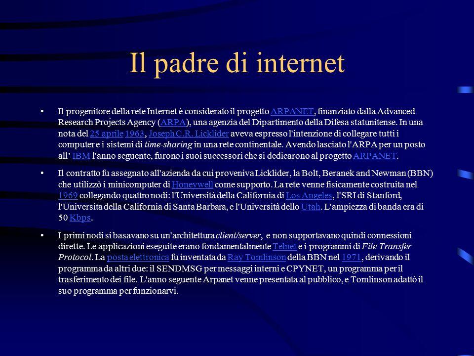Il padre di internet Il progenitore della rete Internet è considerato il progetto ARPANET, finanziato dalla Advanced Research Projects Agency (ARPA), una agenzia del Dipartimento della Difesa statunitense.