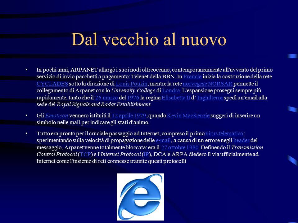 La nascita del World Wide Web Nel 1991 presso il CERN di Ginevra il ricercatore Tim Berners-Lee definì il protocollo HTTP, un sistema che permette una lettura ipertestuale, non-sequenziale dei documenti, saltando da un punto all altro mediante l utilizzo di rimandi.