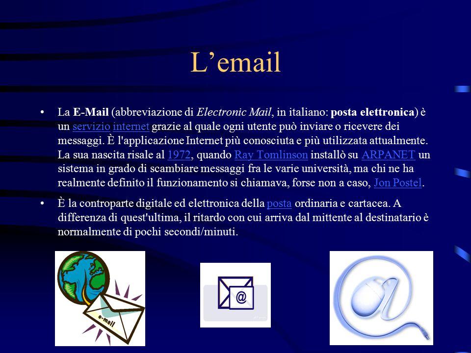 L'email La E-Mail (abbreviazione di Electronic Mail, in italiano: posta elettronica) è un servizio internet grazie al quale ogni utente può inviare o