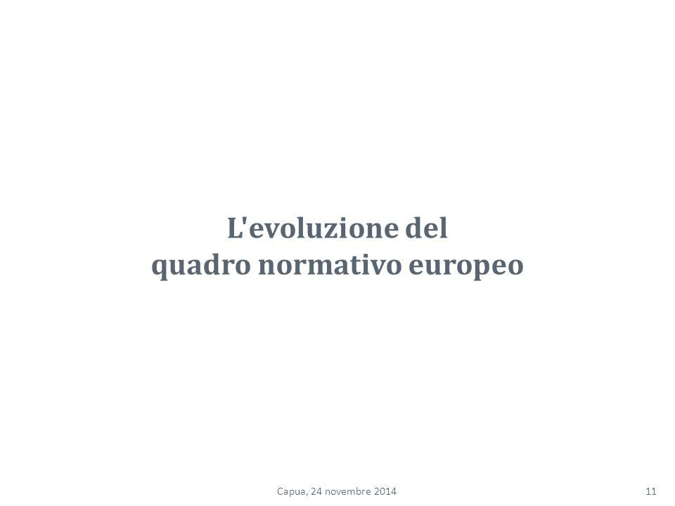 L evoluzione del quadro normativo europeo 11Capua, 24 novembre 2014