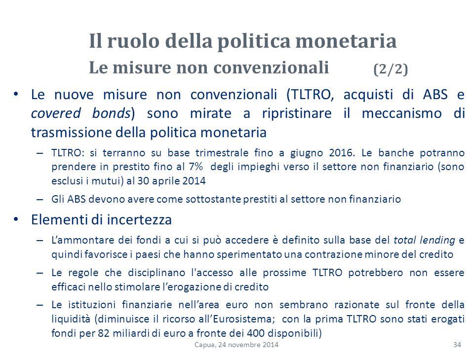 Le nuove misure non convenzionali (TLTRO, acquisti di ABS e covered bonds) sono mirate a ripristinare il meccanismo di trasmissione della politica monetaria – TLTRO: si terranno su base trimestrale fino a giugno 2016.