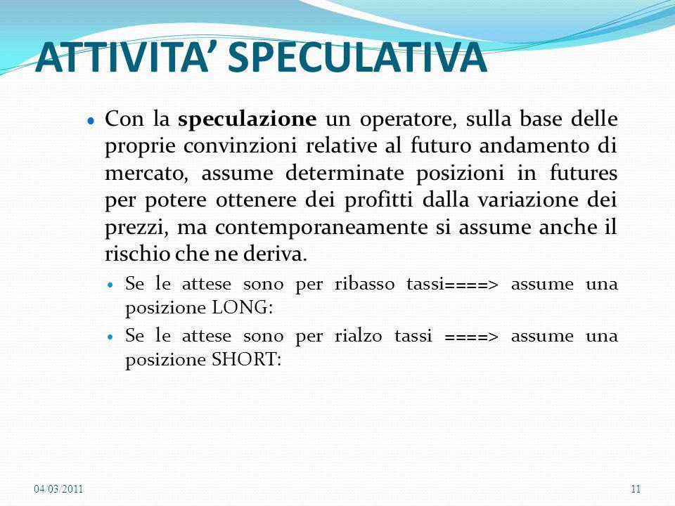 ATTIVITA' SPECULATIVA  Con la speculazione un operatore, sulla base delle proprie convinzioni relative al futuro andamento di mercato, assume determi