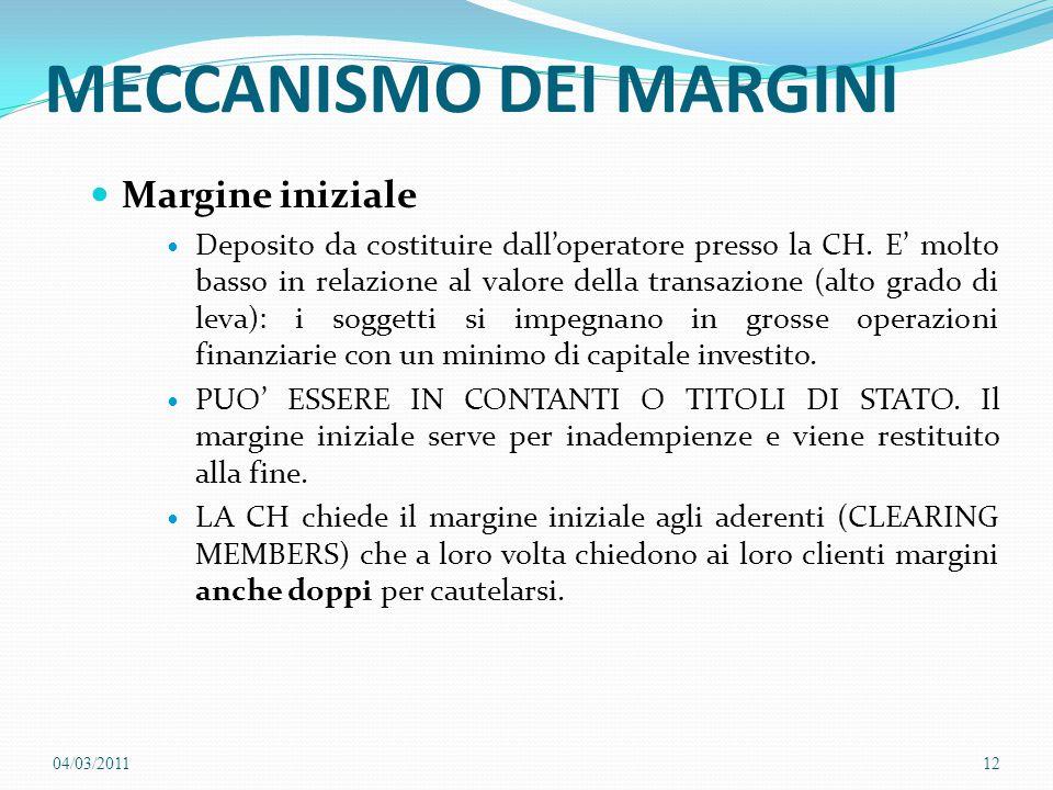 MECCANISMO DEI MARGINI Margine iniziale Deposito da costituire dall'operatore presso la CH. E' molto basso in relazione al valore della transazione (a