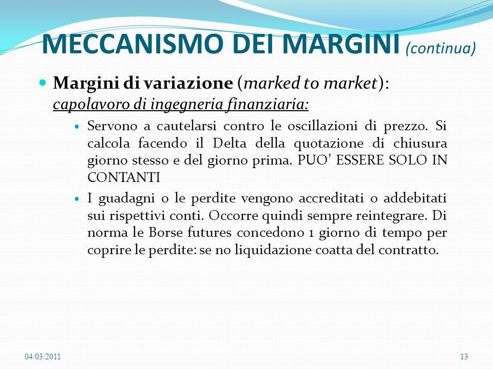 MECCANISMO DEI MARGINI (continua) Margini di variazione (marked to market): capolavoro di ingegneria finanziaria: Servono a cautelarsi contro le oscil