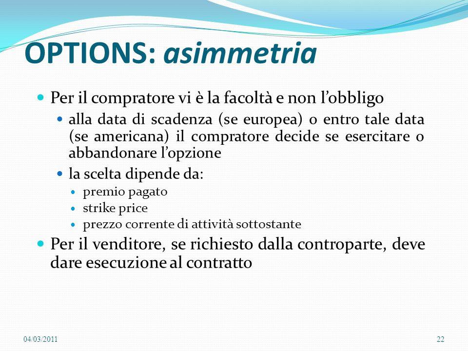 OPTIONS: asimmetria Per il compratore vi è la facoltà e non l'obbligo alla data di scadenza (se europea) o entro tale data (se americana) il comprator