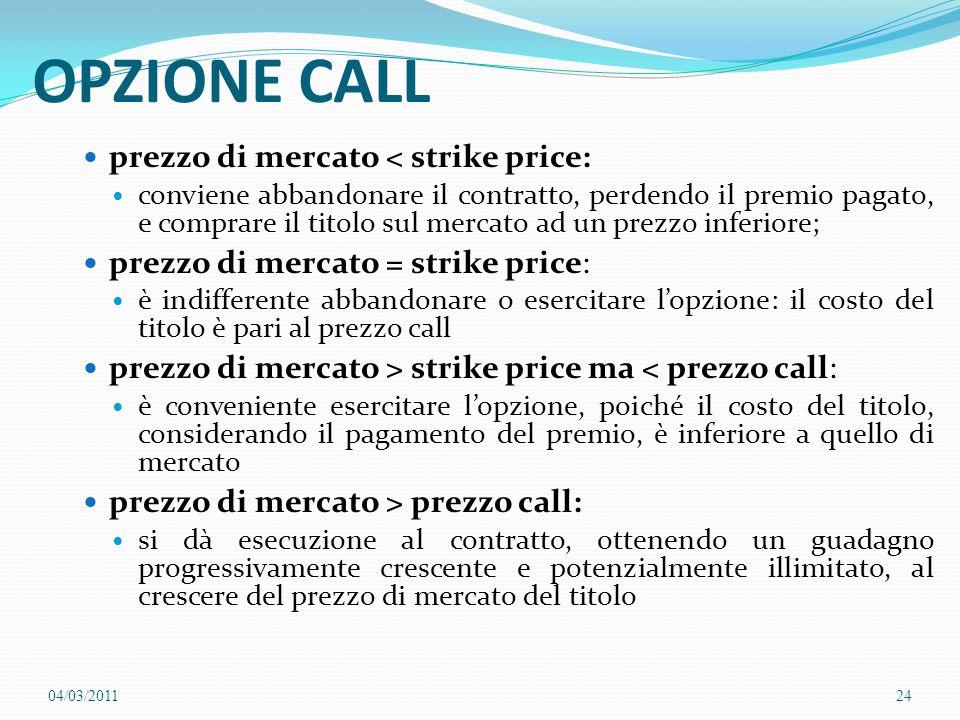 OPZIONE CALL prezzo di mercato < strike price: conviene abbandonare il contratto, perdendo il premio pagato, e comprare il titolo sul mercato ad un pr