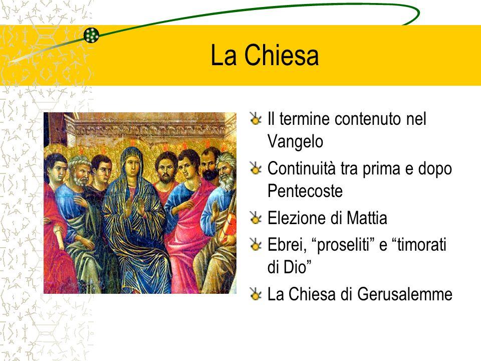 La Chiesa Il termine contenuto nel Vangelo Continuità tra prima e dopo Pentecoste Elezione di Mattia Ebrei, proseliti e timorati di Dio La Chiesa di Gerusalemme