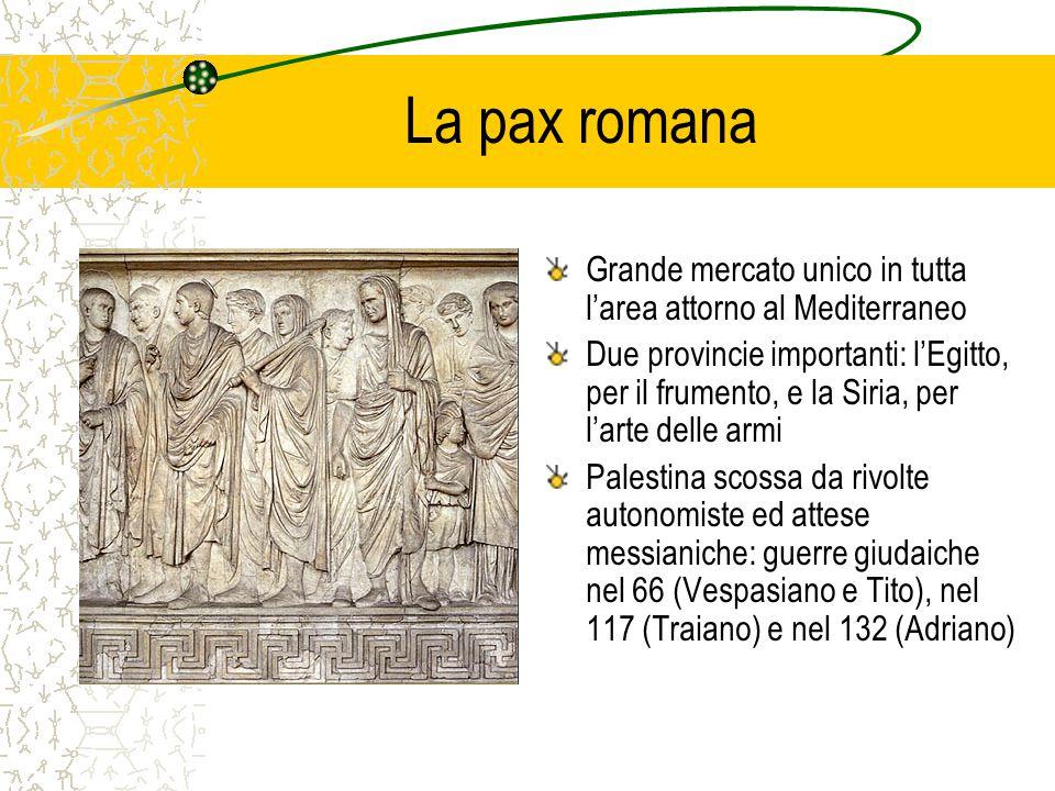 La pax romana Grande mercato unico in tutta l'area attorno al Mediterraneo Due provincie importanti: l'Egitto, per il frumento, e la Siria, per l'arte delle armi Palestina scossa da rivolte autonomiste ed attese messianiche: guerre giudaiche nel 66 (Vespasiano e Tito), nel 117 (Traiano) e nel 132 (Adriano)