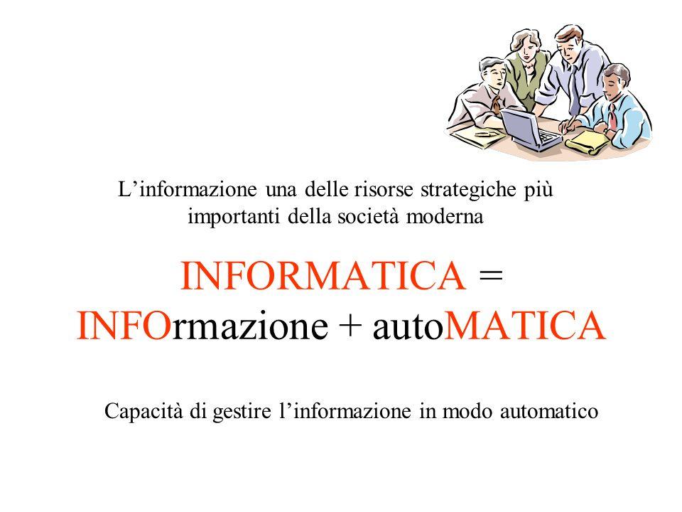 INFORMATICA = INFOrmazione + autoMATICA L'informazione una delle risorse strategiche più importanti della società moderna Capacità di gestire l'informazione in modo automatico