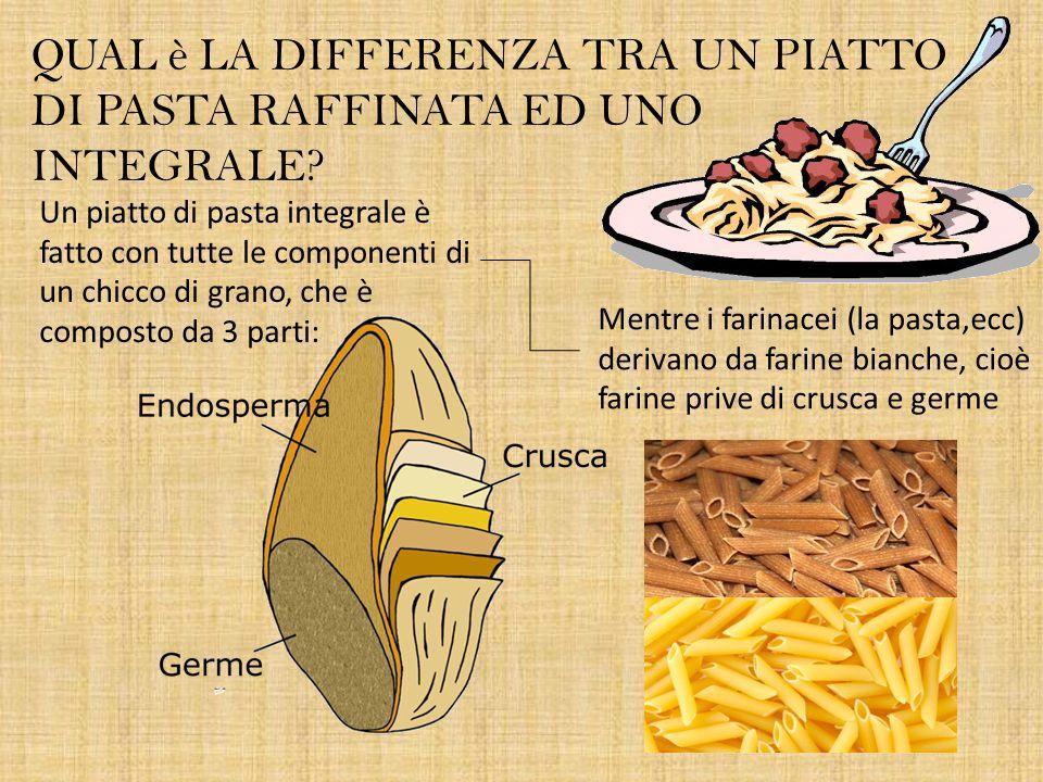 QUAL è LA DIFFERENZA TRA UN PIATTO DI PASTA RAFFINATA ED UNO INTEGRALE? Un piatto di pasta integrale è fatto con tutte le componenti di un chicco di g