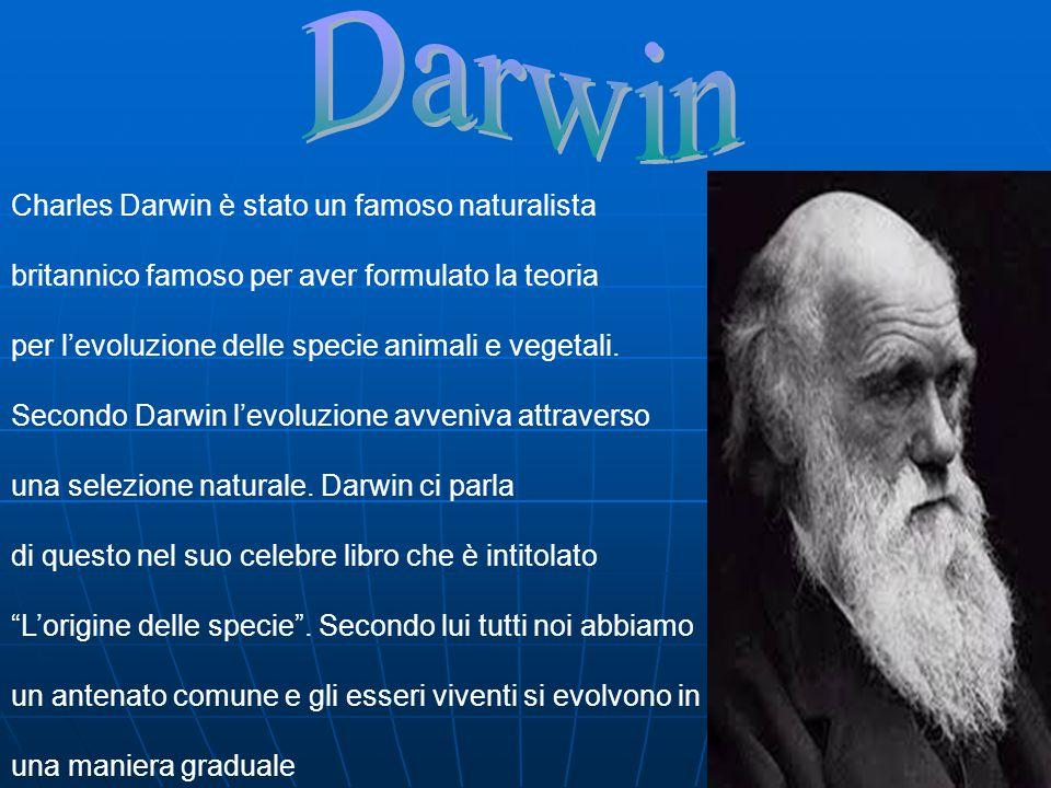 Charles Darwin è stato un famoso naturalista britannico famoso per aver formulato la teoria per l'evoluzione delle specie animali e vegetali. Secondo