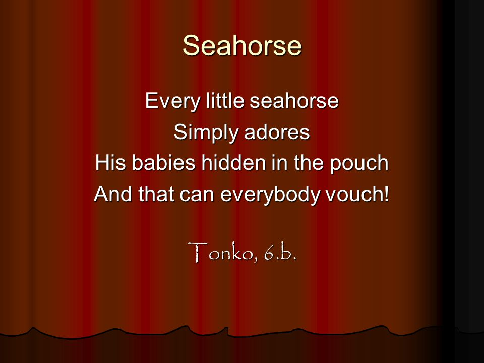 Seahorse Every little seahorse Simply adores His babies hidden in the pouch And that can everybody vouch! Tonko, 6.b.