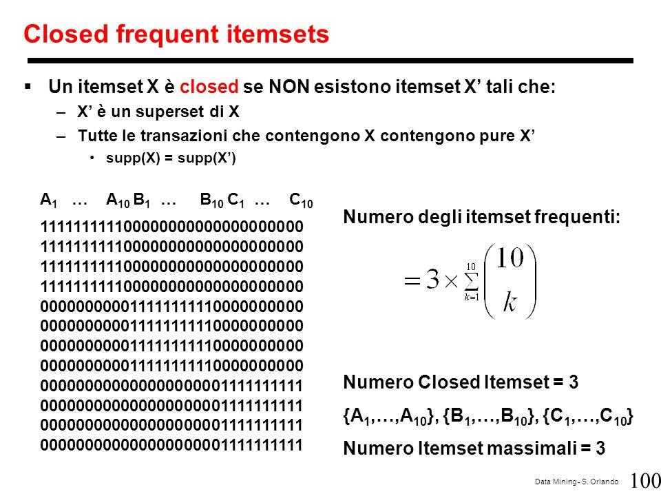 100 Data Mining - S. Orlando Closed frequent itemsets  Un itemset X è closed se NON esistono itemset X' tali che: –X' è un superset di X –Tutte le tr