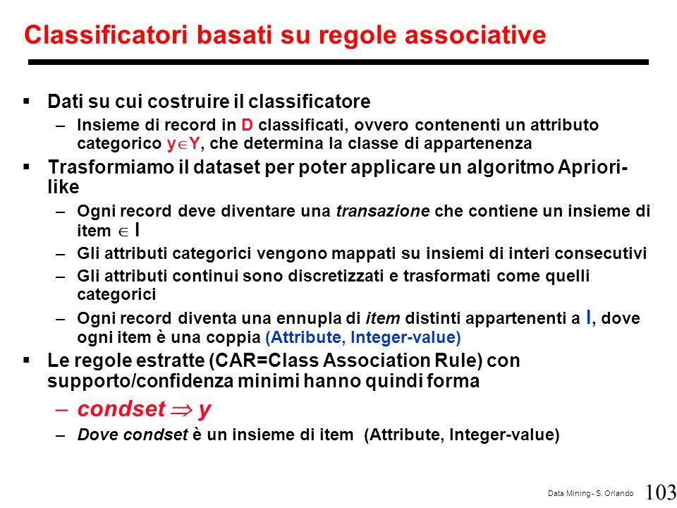 103 Data Mining - S. Orlando Classificatori basati su regole associative  Dati su cui costruire il classificatore –Insieme di record in D classificat