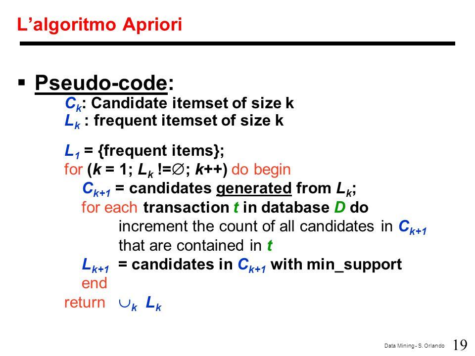 19 Data Mining - S. Orlando L'algoritmo Apriori  Pseudo-code: C k : Candidate itemset of size k L k : frequent itemset of size k L 1 = {frequent item