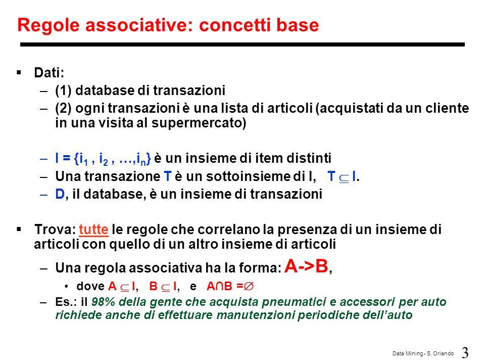 3 Data Mining - S. Orlando Regole associative: concetti base  Dati: –(1) database di transazioni –(2) ogni transazioni è una lista di articoli (acqui