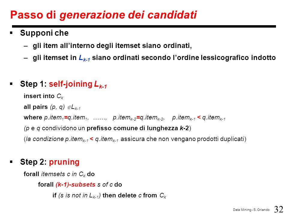32 Data Mining - S. Orlando Passo di generazione dei candidati  Supponi che –gli item all'interno degli itemset siano ordinati, –gli itemset in L k-1