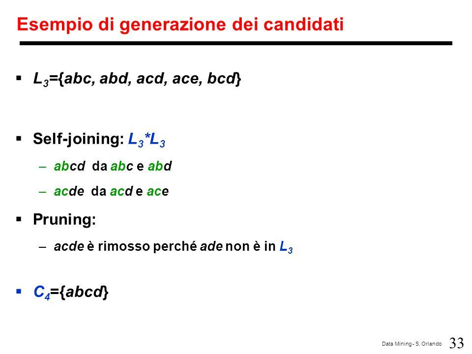 33 Data Mining - S. Orlando Esempio di generazione dei candidati  L 3 ={abc, abd, acd, ace, bcd}  Self-joining: L 3 *L 3 –abcd da abc e abd –acde da