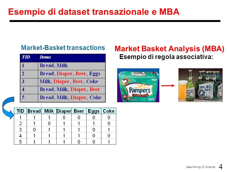 4 Data Mining - S. Orlando Esempio di dataset transazionale e MBA Market-Basket transactions Esempio di regola associativa: Market Basket Analysis (MB